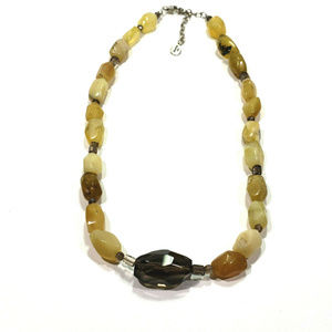 Vintage Barse 925 Necklace Green Yellow Stones
